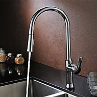 cheap Discount Faucets-Contemporary Pull-out/Pull-down Deck Mounted Pre Rinse Pullout Spray Ceramic Valve One Hole Single Handle One Hole Chrome, Kitchen faucet