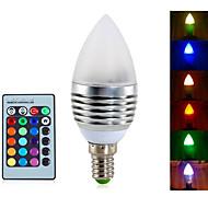 billige Stearinlyslamper med LED-YWXLIGHT® 1pc 4 W 300-350 lm E14 LED-lysestakepærer A60(A19) 3 LED perler Integrert LED Mulighet for demping / Fjernstyrt / Dekorativ RGB 85-265 V / 1 stk.