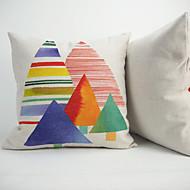 1 adet Pamuk Linen Pamuk/Keten Yastık Kılıfı Orginal Yastık,Çiçekli Geometrik Hayvan Desenli Ekose Wildlife Tuval Tatil Grafik Baskılar