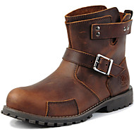 cheap Men's Boots-Men's Combat Boots Leather Fall / Winter Comfort Boots 15.24-20.32 cm / 20.32-25.4 cm / Booties / Ankle Boots Brown / Party & Evening / Mid-Calf Boots