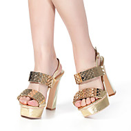 Women's Shoes Leather Summer Chunky Heel for Casual Golden