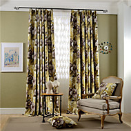 cheap Blackout Curtains-Grommet Top Double Pleat Two Panels Curtain Modern Neoclassical Country, Print Bedroom Polyester Material Blackout Curtains Drapes Home