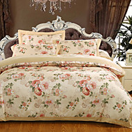 cheap Floral Duvet Covers-Duvet Cover Sets Floral Luxury 100% Cotton Cotton Jacquard Jacquard 4 Piece