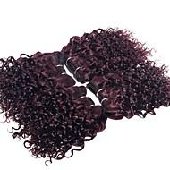Gerçek Saç Düz Brezilya Saçı İnsan saç örgüleri Kıvırcık Kıvırcık Dalgalar Saç uzatma 4 Parça koyu Şarap