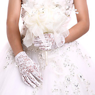cheap Party Gloves-Lace Cotton Wrist Length Glove Charm Stylish Bridal Gloves Party/ Evening Gloves With Embroidery Solid