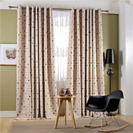 Grommet Top Double Pleated Two Panels Curtain Modern Neoclassical Country Bedroom Poly / Cotton Blend Material Curtains Drapes Home