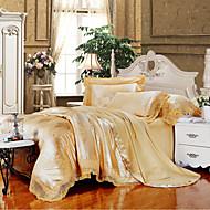 Golden Camel Queen King Size Bedding Set Luxury Silk Cotton Blend Lace Duvet Cover Sets Jacquard Pattern