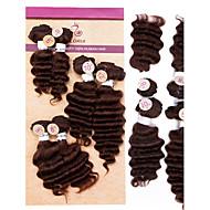 Недорогие -Бразильская глубокая волна 6шт 4x8 «1x10» 1x12 бризильских виргинских пучков волос занимается девственным наращиванием человеческих волос # 1b # 2 # 4