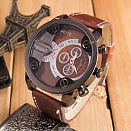 お買い得  軍用腕時計-男性用 クォーツ 軍用腕時計 スポーツウォッチ カジュアルウォッチ レザー バンド クール ブラック オレンジ ブラウン