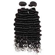 Brazilian Deep Wave Hair Extensions,Real Human Remy Virgin Hair Weave, Grade 7A, colour 1B