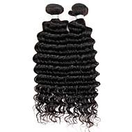 Cabelo Humano Cabelo Brasileiro Cabelo Humano Ondulado Ondas Médias Extensões de cabelo 1 Peça Cor Natural