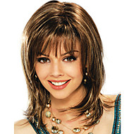 Women Synthetic Wig Medium Length Straight Brown Costume Wig