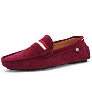 tanie Small Size Shoes-Męskie Komfortowe buty Zamsz Wiosna / Jesień W stylu brytyjskim Mokasyny i pantofle brązowy / Czerwony / Niebieski