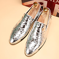 Men's Shoes Leatherette Winter Spring Summer Fall Comfort Loafers & Slip-Ons For Casual Black Silver Blue Golden