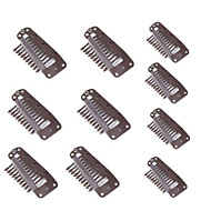 10Pcs 10 Teeth Toupee Snap-Comb Wig Snap Clips For Hair Extensions Brown