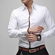 Chemise Grandes Tailles Homme, Couleur Pleine - Coton Travail Business / Décontracté Col Classique Mince / Manches Longues / Printemps / Automne