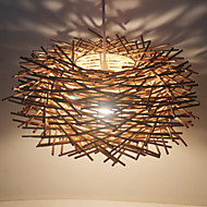 cheap Ceiling Lights & Fans-30CM Modern Rural Cany Art Woven Rattan Restaurant Single Head Droplight Lamp LED