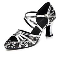 billige Moderne sko-Dame Moderne sko Velourisert Sandaler / Høye hæler Spenne Utsvingende hæl Kan ikke spesialtilpasses Dansesko Svart og Sølv / Gull / Innendørs / Profesjonell