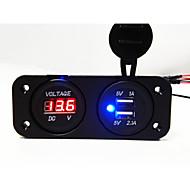 2 otvory panel voltmetr a duální USB nabíječka do auta zásuvka