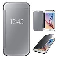のために Samsung Galaxy S7 Edge ウィンドウ付き / ミラー / フリップ ケース フルボディー ケース ソリッドカラー PC Samsung S7 edge / S7 / S6 edge plus / S6 edge / S6