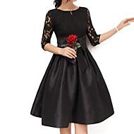 Feminino Rodado Vestido,Para Noite Tamanhos Grandes Sofisticado Sólido Decote Redondo Acima do Joelho Meia MangaAlgodão Poliéster Fibra