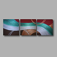 "Ready to Hang Hand-Painted Oil Painting Canvas Three Panels 24""x24""3 pcs Wall Art Modern Abstract Silver Blue"