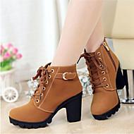 baratos Sapatos Femininos-Mulheres Sapatos Courino Outono / Inverno Coturnos Salto Robusto 20.32-25.4 cm / Botas Cano Médio Cadarço Preto / Amarelo / Verde