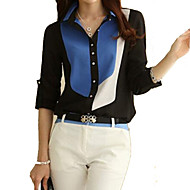cheap -Women's Casual Plus Size Cotton Shirt - Color Block Shirt Collar Black XL / Spring / Summer / Fall / Winter