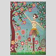 baratos Infantil Pintura-Pintura a Óleo Pintados à mão - Pessoas Contemprâneo Tela de pintura
