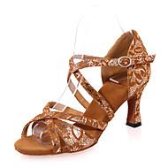 baratos Sapatilhas de Dança-Mulheres Sapatos de Dança Latina Flocagem Sandália Estampa Salto Carretel Personalizável Sapatos de Dança Preto / Marron / Preto e Dourado