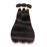 Echthaar Peruanisches Haar Menschenhaar spinnt Gerade Haarverlängerungen 3 Stück Naturfarbe