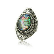 指輪 女性用 人造真珠 合金 合金 調整可 銀