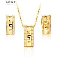 Pánské Sady šperků Svatební Párty Denní Ležérní Pozlacené Obdélníkový Geometric Shape Küpeler Náhrdelníky