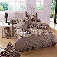 Fashion Leopard Grain,High-end Full Cotton Reactive Printing Stripe Contemporary Bedding Set 4PC, FULL/Queen Size