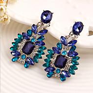 Damskie Szafir Kryształ Pasjans Emerald Cut Kolczyki drop Cyrkonia Kolczyki damska Luksusowy Biżuteria Niebieski Na