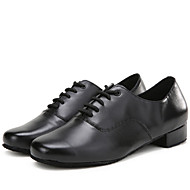 cheap Modern Shoes-Latin Men's Dance Shoes Heels Breathable Leather Low Heel Black