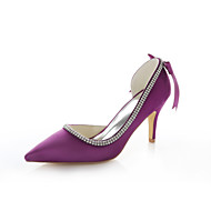 cheap Women's Heels-Women's Shoes Stretch Satin Summer Stiletto Heel Crystal Ribbon Tie for Wedding Dress Party & Evening Purple Red