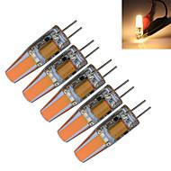 billige Stearinlyslamper med LED-5pcs 3000-3200/6000-6500 lm G4 LED-lysestakepærer T 1 leds COB Dekorativ Varm hvit Kjølig hvit AC 12V DC 12 V