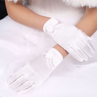 cheap Wedding Gloves-Polyester Elastic Satin Wrist Length Glove Classical Bridal Gloves With Solid