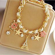 Breloque Charms Bracelet Bracelets en cuir Femme Cuir Tour Etoile Couronne dames Soirée Bracelet Bijoux Blanc pour