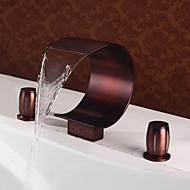アンティーク デッキマウント 滝状吐水タイプ with  セラミックバルブ 三つ 二つのハンドル三穴 for  オイルブロンズ , 浴槽用水栓 バスルームのシンクの蛇口