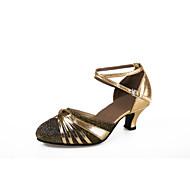 baratos Sapatilhas de Dança-Mulheres Sapatos de Dança Moderna Flocagem Sandália / Salto Gliter com Brilho / Presilha Salto Cubano Não Personalizável Sapatos de Dança Azul / Dourado / Púrpura / Interior / Profissional