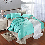 Silver gray and green 100% Tencel Soft Bedding Sets Queen King Size Solid color Duvet Cover Set
