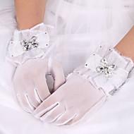 abordables Gants de Mariage-Soie Coton Satin Elastique Longueur Poignet Gant Charme Elégant Gants de Mariée With Broderie Couleur Unie
