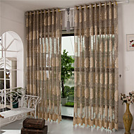 cheap Sheer Curtains-Grommet Top Pencil Pleat Two Panels Curtain European, Hollow Out Stripe Curve Living Room Polyester Material Sheer Curtains Shades Home