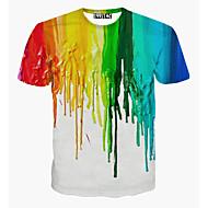 저렴한 -남성용 무지개 라운드 넥 프린트 - 티셔츠, 활동적 스포츠 면 화이트 L / 짧은 소매 / 여름
