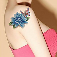 Rose Peony Lotus Waterproof Flower Arm Temporary Tattoos Stickers Non Toxic Glitter