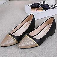플랫-야외 / 캐쥬얼-여성의 신발-컴포트-레더렛-플랫-블랙 / 화이트 / 실버