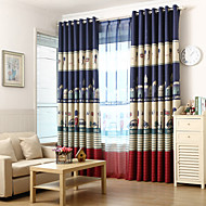 billige Mørkleggingsgardiner-Stanglomme Propp Topp Fane Top Dobbelt Plissert To paneler Window Treatment Moderne Europeisk Middelhavet Neoklassisk Land, Trykk &