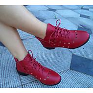 baratos Sapatilhas de Dança-Mulheres Tênis de Dança Couro Salto Salto Robusto Não Personalizável Sapatos de Dança Vinho / Preto / Branco